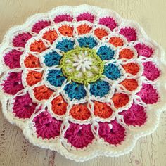 Crochet Mandala in bright cheery cotton