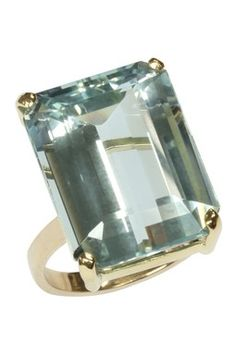 14K Yellow Gold Aquamarine Emerald Cut Ring