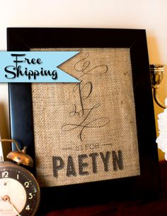 Burlap Art Print  Personalized Initial and by shopvintageginger Free shipping