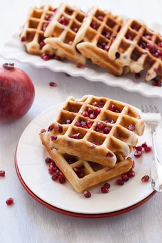 Gluten-Free Pomegranate Waffles #brunch #glutenfree