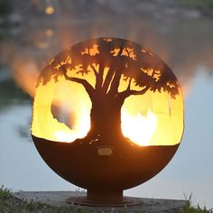 """Tree of Life 37"""" Hand Crafted Steel Fire Pit"""