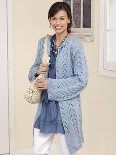 Caron International | Free Project | Long & Lacy Knit Jacket