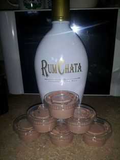 Rum Chata Pudding Shots, here's the recipe: 1- 4 oz pkg instant chocolate jello pudding 1 cup milk 1 cup Rum Chata 1- 8 oz container cool whip Mix milk, pudding and Rum Chata till thickened, gently mix in cool whip with spatula, pour (kinda thick but not set yet) into plastic jello shot cups. Put them in a cake pan in the freezer for a few hours then enjoy! Will not freeze hard due to alcohol in them!