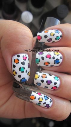 animal nails, color, cheetah print, cheetah nails, nail arts, leopard nails, animal prints, rainbow, leopard prints