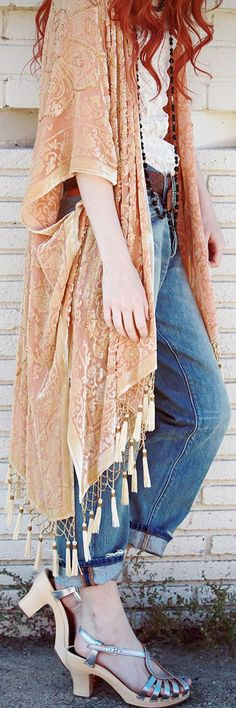 boho clogs, sea of shoes, style, cool kimono, beauti