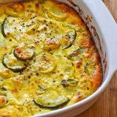 Zucchini Feta Bake (Gluten Free) - a little lighter with greek yogurt and feta instead of cheddar.