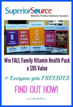 Get energized with #SuperiorSource Win Fall Family Vitamin Health Pack for you to keep and share + Find out how to Get FREEBIES #ad