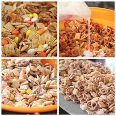 Candy corn mix: chex, pretzels, vanilla candi quik and candy corn! Melt chocolate and pour over dry mix. Stir around and lay out wax paper to cool. Simple and super yummy! Enjoy!! #halloween #recipes