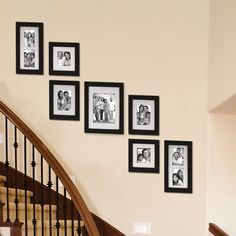 collage of black wall frames on a staircase - Done and looks great! First Pinterest idea accomplished!