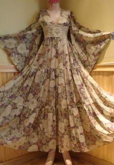 Vintage Bell Sleeve Gunne Sax Dress Hippie Kimono Dress Prairie Maxi dress