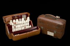 Sir James Reid's medicine chest, England, 1881-1923. Sir James Reid (1849-1923) was personal physician to Queen Victoria from 1881 until her death in 1901. The leather chest contains a range of medication, including opium-based painkillers, laxatives and Dover's powder, which was a remedy for cold