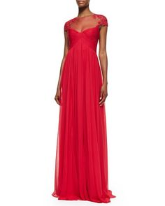 Love this dress.   Cap-Sleeve Lace Illusion Gown, Wild Orchid by Monique Lhuillier at Neiman Marcus.