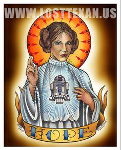 "Princess Leia ""Hope"" Print- looks like another star wars tattoo idea"