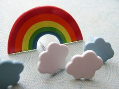 Rainbows and Clouds Metal Brads for Scrapbooking