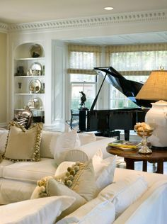 interior design, joy tribout, pillow, pom poms, living rooms, the bay, the piano, bay windows, piano room