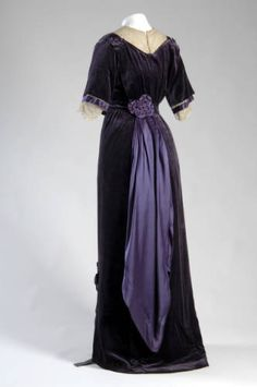 ~Afternoon dress, Jeanne Paquin, 1910, French; silk velvet, silk satin and silk lace~