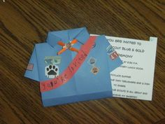 Blue and Gold Invitations...Cub Scout Shirt. Cute!