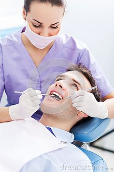 Young man at dentist office