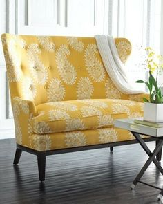 This beautiful settee is like a bit of sunshine. I totally love the fabric. It's cheerful, bright and makes this settee a show piece in any room.