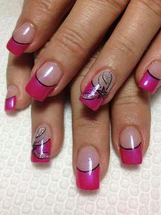 lechat gel pink tip nails with floral design