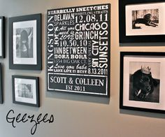 such a sweet sign. perfect for newlyweds! love this wall and how they arranged the frames.