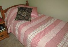 All rag quilts don't have to look the same! You can make cute rag quilts using strips instead of squares. The Striped Homespun Rag Quilt is the size of a twin #quilt and features strips of cozy pink homespun. This rag quilt is great for a girls' room!