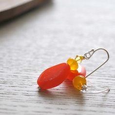 Modern Candy Corn Czech Glass Earrings for Halloween by bstrung