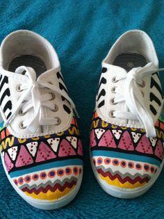 Multicolor Geometric Print Canvas Shoes on Etsy, $35.00