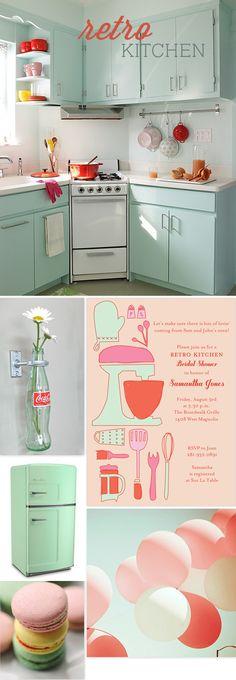 coke, kitchen colors, kitchen bridal, apples, retro bridal shower decor, bottles, dream kitchens, retro kitchens, bridal showers
