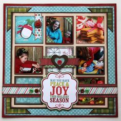 #papercraft #scrapbook #layout. Upcycle Christmas Cards on a Scrapbook Layout My Minds Eye