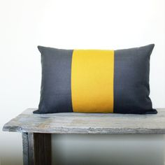Grey and Mustard Yellow Pillow Cover - Dark grey and yellow throw pillow - 12x18 pillow cover. $16.00, via Etsy.