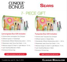 Lemongrass or Turquoise Clinique Gift? Both are now available at Sears. With $31 purchase. http://clinique-bonus.com/canada/#sears
