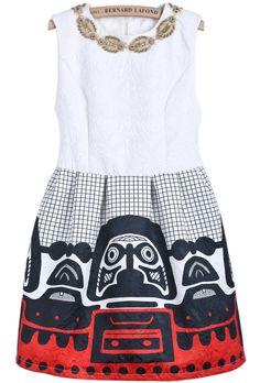 White+ pattern dress//