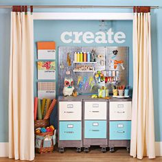 Repurposed Closet with Wall Control Pegboard!