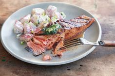 Grilled Salmon Fillets with Herb Butter