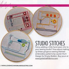 Sewing machines - Studio Stitches Embroidery Pattern from Empty Bobbin Designs. pattern $12.95
