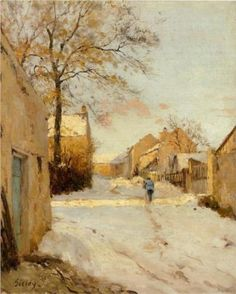 A Village Street in Winter - Alfred Sisley