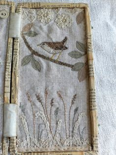 Really lovely pieces on this site - I love the detail of embroidery, the little bird with appropriate saying in other half of a paper-covered box - vintage style altered art / mixed media by gentlework