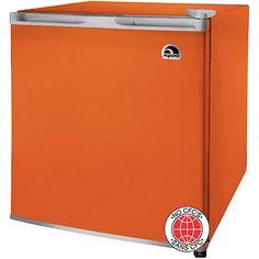 Orange mini refrigerator