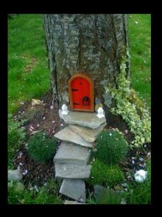 DIY Fairy Home, cute for the kids. Niece  plays with her barbies outside!
