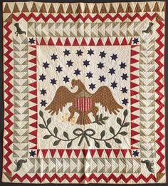 Eagle Medallion Quilt pieced & applique cottons Knowlton, New Jersey dated 1842