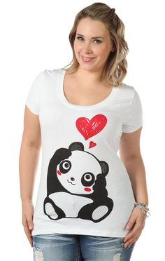 Deb Shops plus size tee with #panda #heart screen