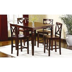 """""""So, Abbie how do we know if you're excited about graduating?""""  """"Well, I have about 20 tabs open to furniture shopping and I'm obsessed with looking for a dining room table. Does that count?""""   5 pc Mahogany High-Top Dining Set- Jaclyn Smith Today"""
