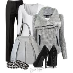 Sexy and sophisticated jacket, sweater, purs, fashion outfits, heel, front doors, work outfits, shoe, coat