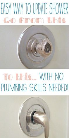 Quick and easy way to change a plastic shower handle to a metal one.