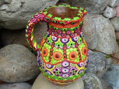 Upcycled Ceramic Pitcher Transformed by Clay Mosaic by CrazieHappy, $75.00