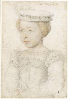 ELIZABETH DE VALOIS ~ Daughter of HENRI II  CATHERINE DE MEDICI / by Francois Clouet,c. 1550