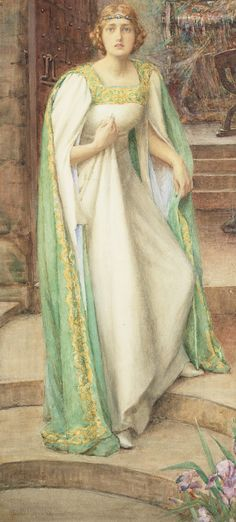 """Avalon Camelot King Arthur:  """"The #Lady of #Shalott,"""" by Henry Meynell Rheam (1859-1920)."""