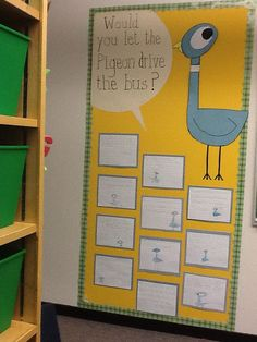 Picture: writing activity could be a writing prompt...I would let the pigeon drive the bus because or I wouldn't let the pigeon drive the bus because...