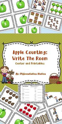 "Free!  Apple themed ""Write the Room.1-10.  Printable."